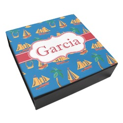 Boats & Palm Trees Leatherette Keepsake Box - 3 Sizes (Personalized)