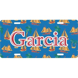 Boats & Palm Trees Front License Plate (Personalized)