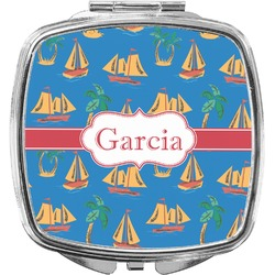 Boats & Palm Trees Compact Makeup Mirror (Personalized)