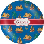 Boats & Palm Trees Melamine Plate (Personalized)