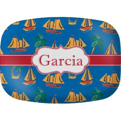 Boats & Palm Trees Melamine Platter (Personalized)