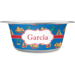 Boats & Palm Trees Stainless Steel Dog Bowl (Personalized)