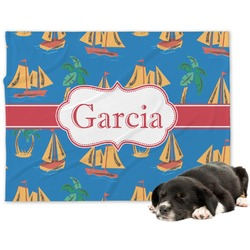 Boats & Palm Trees Minky Dog Blanket (Personalized)