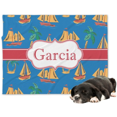 Boats & Palm Trees Dog Blanket (Personalized)