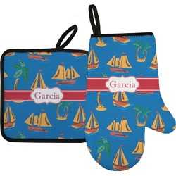 Boats & Palm Trees Oven Mitt & Pot Holder (Personalized)