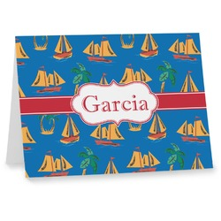 Boats & Palm Trees Notecards (Personalized)