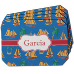 Boats & Palm Trees Dining Table Mat - Octagon w/ Name or Text