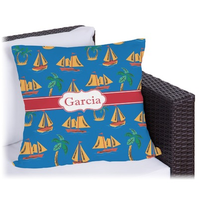 Boats & Palm Trees Outdoor Pillow (Personalized)