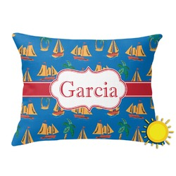 Boats & Palm Trees Outdoor Throw Pillow (Rectangular) (Personalized)