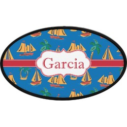 Boats & Palm Trees Oval Trailer Hitch Cover (Personalized)