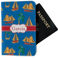 Boats & Palm Trees Passport Holder - Fabric (Personalized)
