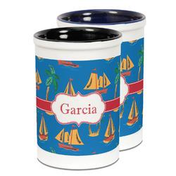 Boats & Palm Trees Ceramic Pencil Holder - Large