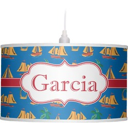 Boats & Palm Trees Drum Pendant Lamp Linen (Personalized)
