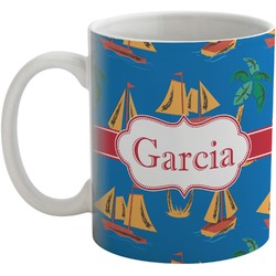 Boats & Palm Trees Coffee Mug (Personalized)