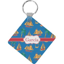 Boats & Palm Trees Diamond Key Chain (Personalized)
