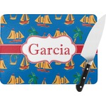 Boats & Palm Trees Rectangular Glass Cutting Board (Personalized)