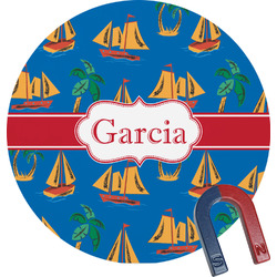 Boats & Palm Trees Round Magnet (Personalized)