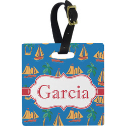 Boats & Palm Trees Square Luggage Tag (Personalized)
