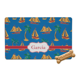 Boats & Palm Trees Pet Bowl Mat (Personalized)