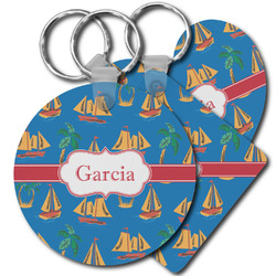 Boats & Palm Trees Plastic Keychains (Personalized)