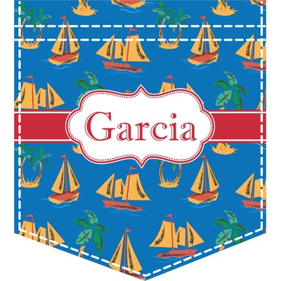 Boats & Palm Trees Iron On Faux Pocket (Personalized)