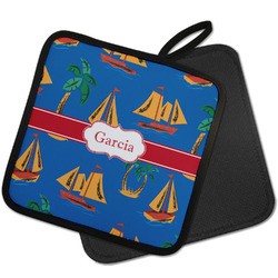 Boats & Palm Trees Pot Holder w/ Name or Text
