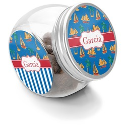 Boats & Palm Trees Puppy Treat Jar (Personalized)