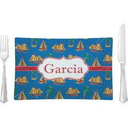Boats & Palm Trees Rectangular Glass Lunch / Dinner Plate - Single or Set (Personalized)