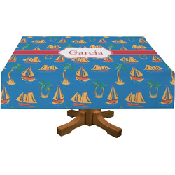 Boats & Palm Trees Rectangle Tablecloth (Personalized)