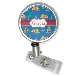 Boats & Palm Trees Retractable Badge Reel (Personalized)