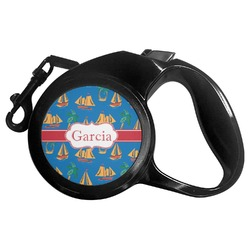 Boats & Palm Trees Retractable Dog Leash - Multiple Sizes (Personalized)