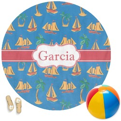 Boats & Palm Trees Round Beach Towel (Personalized)