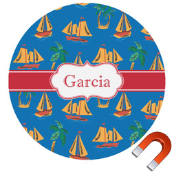 Boats & Palm Trees Round Car Magnet (Personalized)