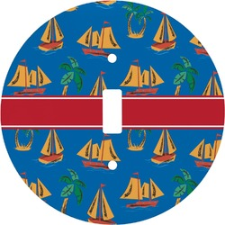Boats & Palm Trees Round Light Switch Cover (Personalized)