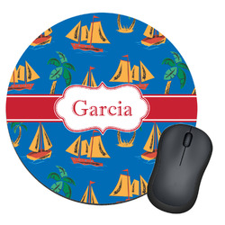 Boats & Palm Trees Round Mouse Pad (Personalized)