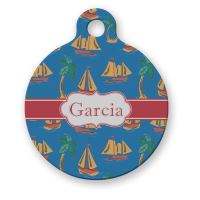 Boats & Palm Trees Round Pet Tag (Personalized)