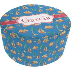 Boats & Palm Trees Round Pouf Ottoman (Personalized)