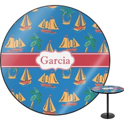 Boats & Palm Trees Round Table (Personalized)