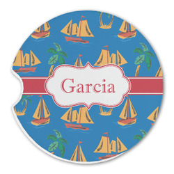 Boats & Palm Trees Sandstone Car Coasters (Personalized)