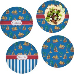 Boats & Palm Trees Set of 4 Lunch / Dinner Plates (Glass) (Personalized)