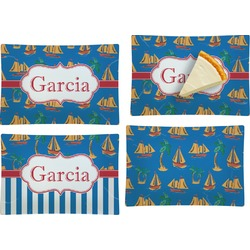 Boats & Palm Trees Set of 4 Rectangular Appetizer / Dessert Plates (Personalized)