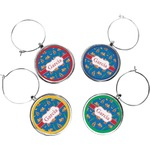Boats & Palm Trees Wine Charms (Set of 4) (Personalized)