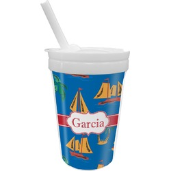 Boats & Palm Trees Sippy Cup with Straw (Personalized)