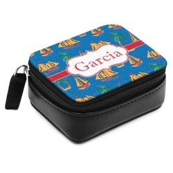 Boats & Palm Trees Small Leatherette Travel Pill Case (Personalized)