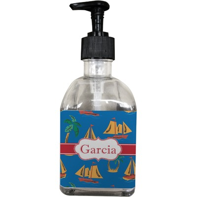 Boats & Palm Trees Soap/Lotion Dispenser (Glass) (Personalized)