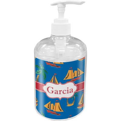 Boats & Palm Trees Acrylic Soap & Lotion Bottle (Personalized)