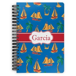 Boats & Palm Trees Spiral Bound Notebook (Personalized)