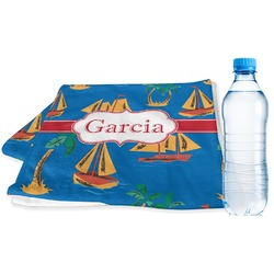 Boats & Palm Trees Sports Towel (Personalized)