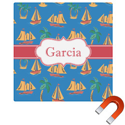 Boats & Palm Trees Square Car Magnet (Personalized)
