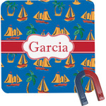 Boats & Palm Trees Square Fridge Magnet (Personalized)